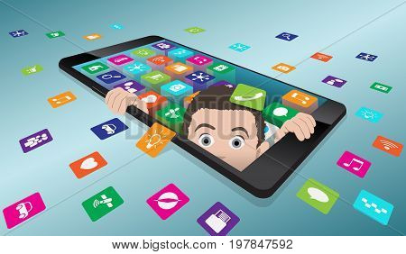 A frightened man looks out of smartphone. The return to reality from virtual reality vector illustration with well organized layers