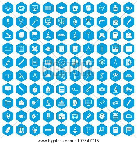 100 compass icons set in blue hexagon isolated vector illustration
