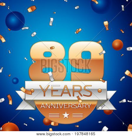 Realistic Eighty nine Years Anniversary Celebration Design. Golden numbers and silver ribbon, confetti on blue background. Colorful Vector template elements for your birthday party
