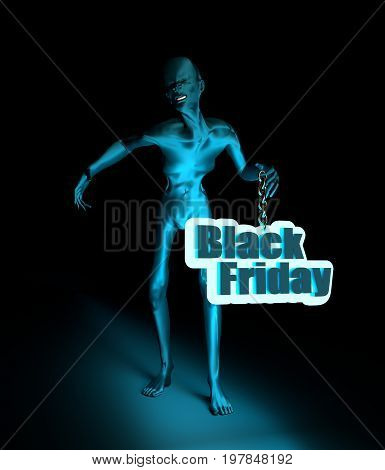 Posing horrified zombie. Black Friday text on billboard. 3D rendering