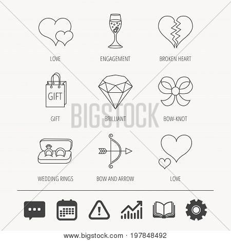 Love heart, gift box and wedding rings icons. Broken heart and engagement linear signs. Valentine amour arrow, brilliant flat line icons. Education book, Graph chart and Chat signs. Vector