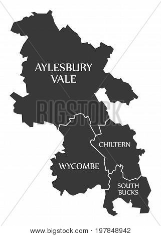 Buckinghamshire County England Uk Black Map With White Labels Illustration