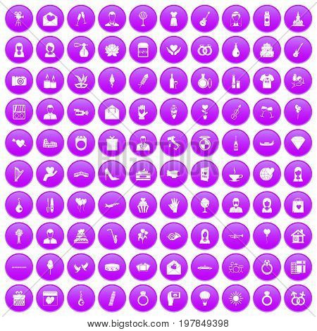 100 wedding icons set in purple circle isolated on white vector illustration