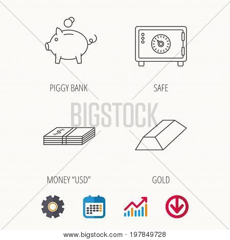 Piggy bank, cash money and safe icons. Gold bar linear sign. Calendar, Graph chart and Cogwheel signs. Download colored web icon. Vector