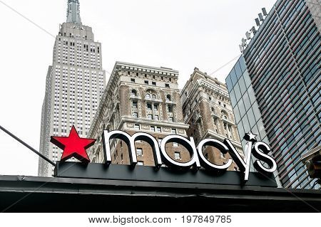 New York July 27 2017: Macy's signage is displayed on an awning above one of the entrances to the flagship store in Manhattan.