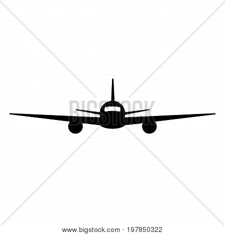 Black isolated silhouette of airplane on white background. Front view of aeroplane