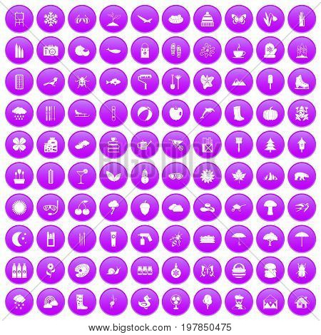 100 landscape icons set in purple circle isolated vector illustration