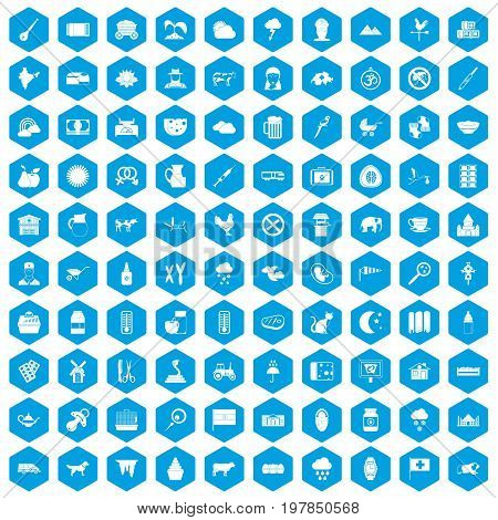 100 cow icons set in blue hexagon isolated vector illustration