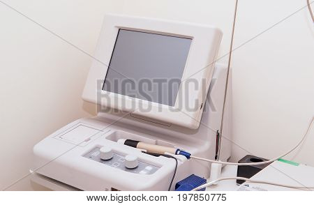 Ophthalmology Medical Instrument In Clinic Office. Eye Health Care Concept. Selective Focus