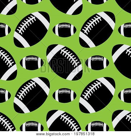 seamless pattern illustration - black and white american football balls different sizes in front of a green background
