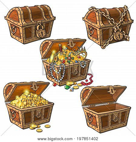 Open and closed pirate treasure chests, locked, empty, full of coins and jewelry, hand drawn cartoon vector illustration isolated on white background. Set of hand drawn treasure chests, full and empty