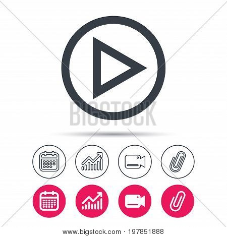 Play icon. Audio or Video player symbol. Statistics chart, calendar and video camera signs. Attachment clip web icons. Vector