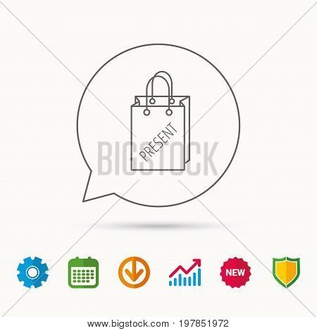 Present shopping bag icon. Gift handbag sign. Calendar, Graph chart and Cogwheel signs. Download and Shield web icons. Vector