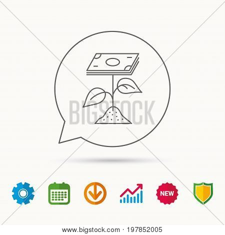 Profit icon. Money savings sign. Flower with cash money symbol. Calendar, Graph chart and Cogwheel signs. Download and Shield web icons. Vector