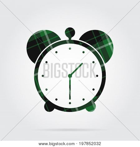 green black isolated tartan icon with white stripes - alarm clock and shadow in front of a gray background