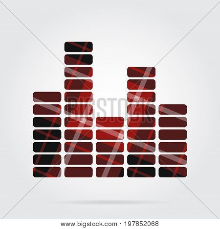 red black isolated tartan icon with white stripes - mixing console equalizer symbol and shadow in front of a gray background