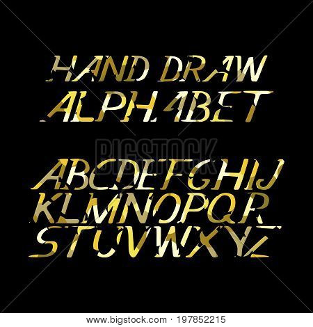 hand draw gold alphabet letters under the classical bias, to design greeting cards, posters, banners, labels for Web sites, icons