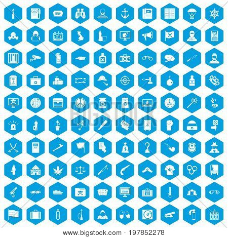 100 crime investigation icons set in blue hexagon isolated vector illustration
