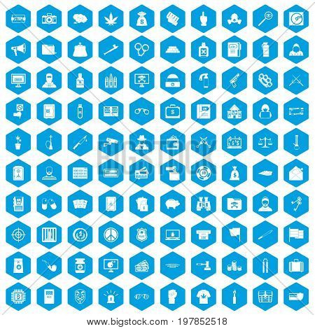 100 criminal offence icons set in blue hexagon isolated vector illustration