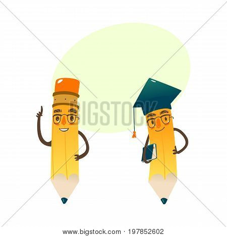 Vector cartoon humanized pencil with arms and face emotions, keeping book in hands in glasses and academic cap. Flat isolated illustration on a white background with speech bubble