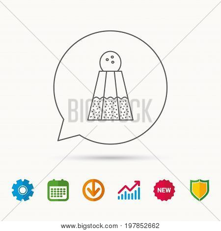 Salt icon. Sodium spice sign. Cooking ingredient symbol. Calendar, Graph chart and Cogwheel signs. Download and Shield web icons. Vector