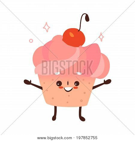 Vector sweet humanized cupcake, brownie character with arms and legs . Flat cartoon isolated illustration on a white background. Funny smiley dessert with cherry at head.