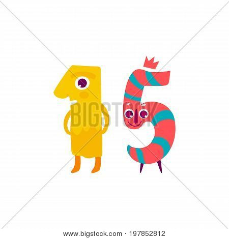 Vector cute animallike character number fifteen 15. Flat cartoon illustration on a white background. Happy birthday, new year decorative numbers. Funny smiling colored math, education symbols