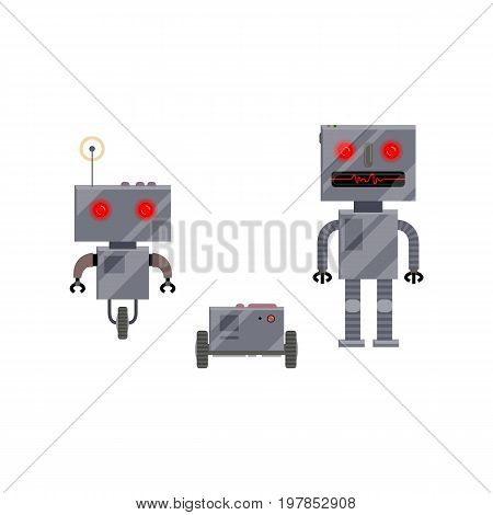 Three modern and retro style robot characters, cartoon vector illustration isolated on white background. Group of modern and retro style robots, cartoon style illustration