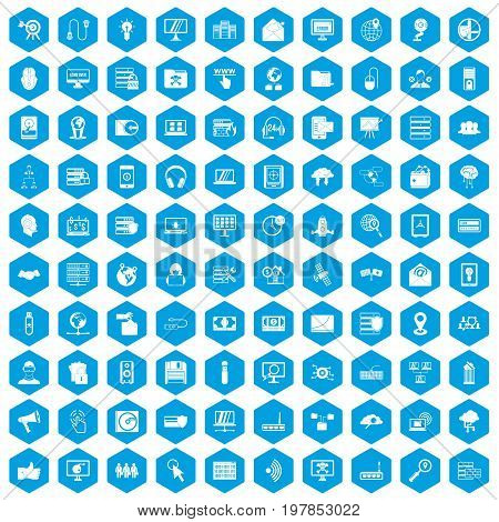 100 cyber security icons set in blue hexagon isolated vector illustration
