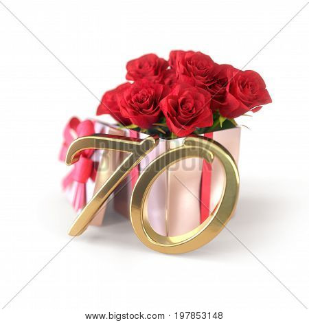 birthday concept with red roses in gift isolated on white background. 3D render - seventieth birthday. 70th