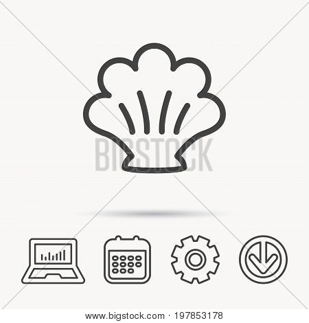 Sea shell icon. Seashell sign. Mollusk shell symbol. Notebook, Calendar and Cogwheel signs. Download arrow web icon. Vector