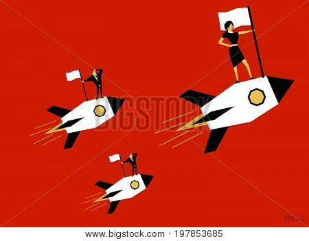 Businesswoman with team holding flag standing on rocket ship flying forward. Start up business vector concept.