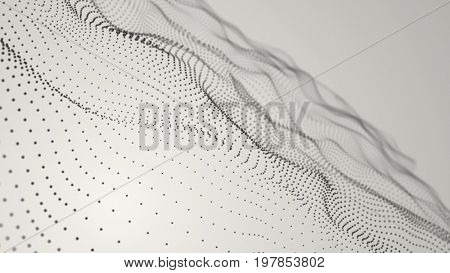Fantasy particles structure waving. Light composition. Depth of field settings. 3D rendering