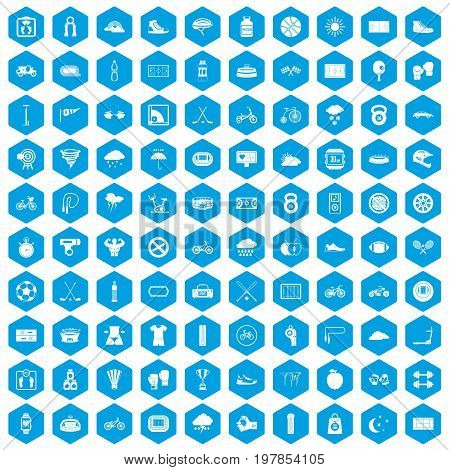 100 cycling icons set in blue hexagon isolated vector illustration