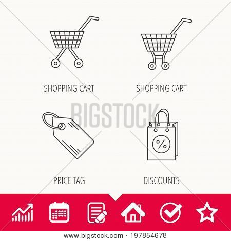 Shopping cart, discounts bag and price tag icons. Sale coupon linear sign. Edit document, Calendar and Graph chart signs. Star, Check and House web icons. Vector