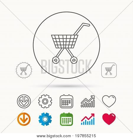 Shopping cart icon. Market buying sign. Calendar, Graph chart and Cogwheel signs. Download and Heart love linear web icons. Vector