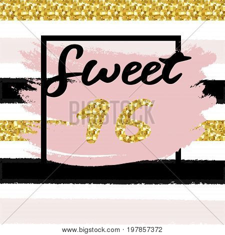 Cute festive bright sweet sixteen card with golden glitter confetti for your decoration