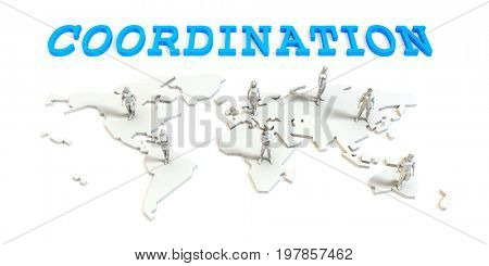 Coordination Global Business Abstract with People Standing on Map 3D Illustration Render