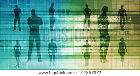 Business Team Standing with Leader in Front as a Concept 3D Illustration Render