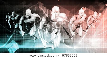 Future Background Abstract with People Running Ahead 3D Illustration Render