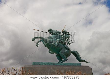YAMAGATA JAPAN - MAY 28 2017: Equestrian statue of Mogami Yoshiaki in Yamagata Castle Japan. Yoshiaki (1546-1614) was a samurai and the first lord of the Yamagata Domain in Dewa Province