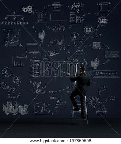 Businessman standing on stepladder.  Schematic background. Business and office, concept.