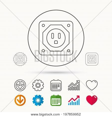 USA socket icon. Electricity power adapter sign. Calendar, Graph chart and Cogwheel signs. Download and Heart love linear web icons. Vector