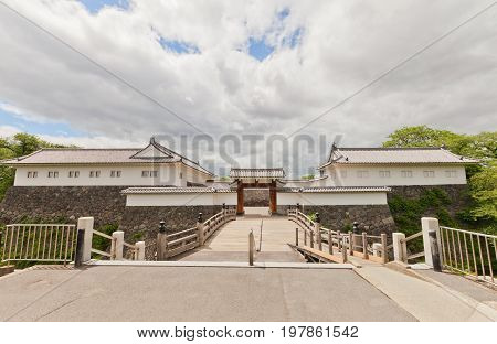 YAMAGATA JAPAN - MAY 28 2017: Reconstructed (1991) complex of Eastern Main Gate (inner and outer gates and tower) of Yamagata Castle (founded in 1356). National historical site of Japan since 1986