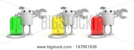 Robot mechanic with lamp. 3d illustration