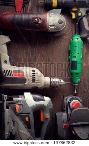 Electric hand tools (screwdriver Drill Saw jigsaw jointer) top view