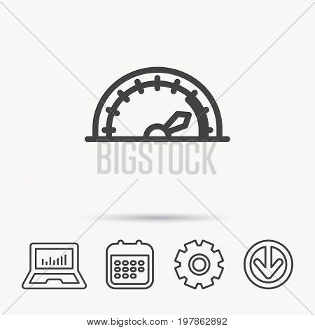 Speedometer icon. Speed tachometer with arrow sign. Notebook, Calendar and Cogwheel signs. Download arrow web icon. Vector