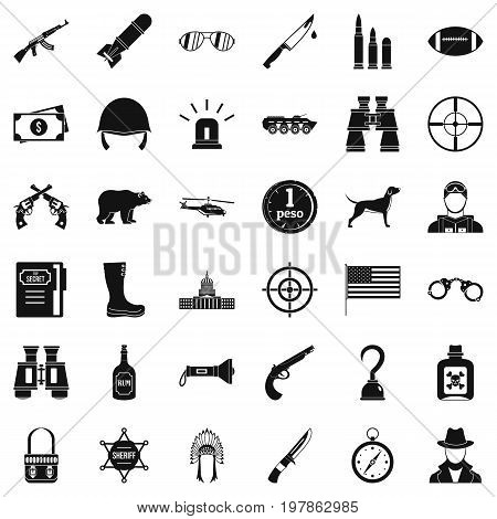 Bullet icons set. Simple style of 36 bullet vector icons for web isolated on white background