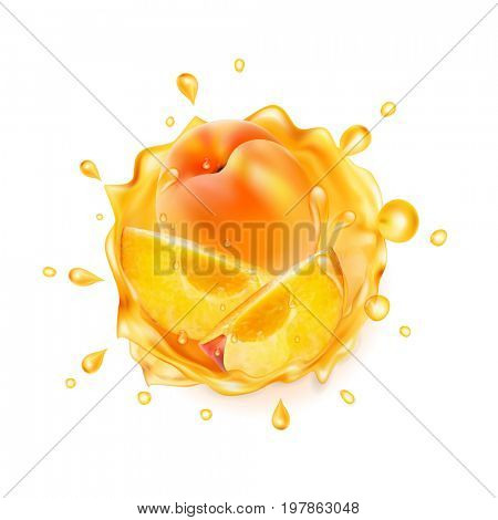 Peach juice. Realistic splash of juice with peach and slices peach. The raster version.