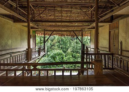 Tree house in Chiang Mai province Thailand Mae me distric. Made from tree and bamboo.